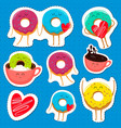 funny donut characters stickers in leisure vector image