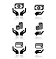 Hands with money icons set vector image
