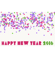 Happy new year 2016 confetti party holiday banner vector image