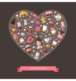Heart composition of modern flat design coffee vector image