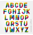 Polygon alphabet colorful font style vector image