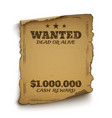 Wanted dead or alive poster vector image