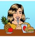 Woman Choosing Between Fruits and Fast Food vector image