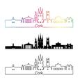 Cork skyline linear style with rainbow vector image