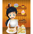 A happy mother preparing sandwiches vector image