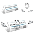 Cartoon joyful business newspaper character vector image