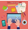 Time to Work Modern Workplace Top View on Desk vector image