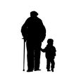 an old man with a stick and a small child vector image