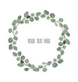 floral wreath with green eucalyptus leaves frame vector image