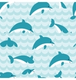 Seamless pattern with flock of dolphins vector image
