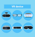 set of vr devices icons modern virtual reality vector image