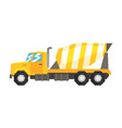 yellow concrete mixer truck heavy industrial vector image