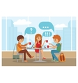 Group of friends in cafe - vector image