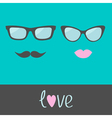 Glasses with lips and moustache Flat design vector image