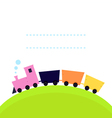 Cute colorful Train on hill with copy space vector image
