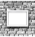 White photo frame on brick wall background with vector image vector image