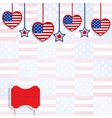 American background with hanging hearts and stars vector image vector image