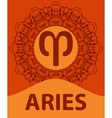 Aries Ram Zodiac icon with mandala print vector image vector image