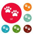 cat step icons circle set vector image