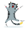 cheerful jumping cat feline funny character vector image