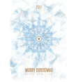 Christmas Poster Big Snowflake on Ice Background vector image