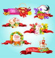 easter ribbon banner and label for holiday design vector image