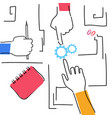 hands woking team together making business plan vector image