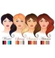 Seasonal color types for women skin beauty set vector image