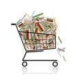 Pile of books in shopping cart for your design vector image vector image