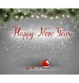 happy new year hand drawn inscription and santa vector image
