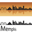 Memphis skyline in orange background vector image