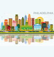 philadelphia skyline with color buildings blue vector image