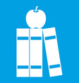 stack of books and apple icon white vector image vector image