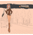 Urban view with slender sexy girl vector image