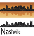 Nashville skyline in orange background vector image vector image