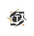 Gear solution logo letter t vector image