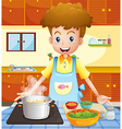 A kitchen with a man cooking vector image