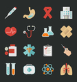 Medical and health icons with black background  e vector image