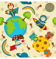 seamless pattern baby boy in space vector image