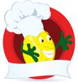 Lemon cartoon character with promo ribbon vector image