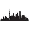 Shanghai China skyline Detailed silhouette vector image
