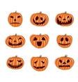Halloween pumpkin icons set Emotion vector image vector image