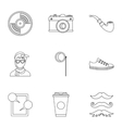 Hipsters icons set outline style vector image