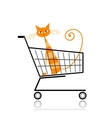 Cute cat in shopping cart for your design vector image