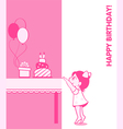 Little girl birthday card vector image vector image