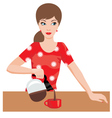 woman on kitchen pours coffee vector image vector image
