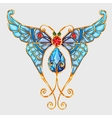 Gold butterfly with blue wings and precious stones vector image