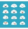 Clouds cute emoji smily emoticons faces set vector image vector image