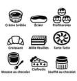 French dessert pastry and cakes icons - creme bru vector image