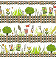 garden pattern with seed packets tools and tree vector image